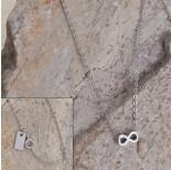 Zdjęcie - Srebrny rodowany naszyjnik nieskończoność, Ag925