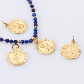 Zdjęcie - Srebrna zawieszka moneta z koroną AG925 pozłacana