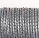 Zdjęcie - Rzemień naturalny pleciony metalizowany srebrny