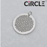 Zdjęcie - Zawieszka okrągła wycinany labirynt z kółeczkiem ze stali szlachetnej