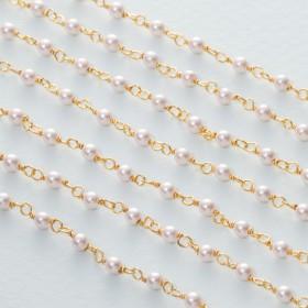 Zdjęcie - Łańcuch srebrny ag925 pozłacany z perłą majorka
