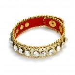 Zdjęcie - Złota bransoletka kryształki nabijane z łańcuszkiem