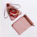 Zdjęcie - Woreczek z organzy do biżuterii brązowy