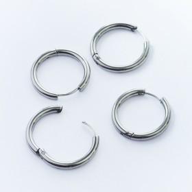 Zdjęcie - Kolczyki koła zapinane ze stali chirurgicznej srebrny