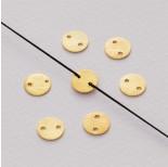 Zdjęcie - Srebrna blaszka kółko satynowe z 2 dziurkami ag925 pozłacana