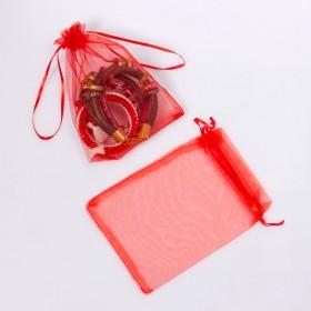 Zdjęcie - Woreczek z organzy do biżuterii czerwony