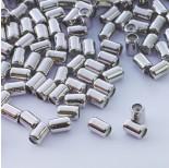 Zdjęcie - Zapięcie stoper z silikonem do cienkich sznureczków walec srebrny