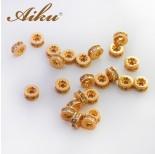 Zdjęcie - Koralik oponka z cyrkoniami złocona