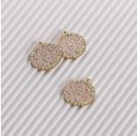 Zdjęcie - Zawieszka emaliowana ornament z kryształkami różowy