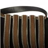 Zdjęcie - Rzemień zamszowy brązowy z łańcuszkiem