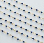 Zdjęcie - Łańcuch srebrny ag925 pozłacany ze spinelem niebieskim fasetowanym