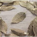 Zdjęcie - Liść naturalny metalizowany stare złoto