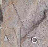 Zdjęcie - Srebrny rodowany naszyjnik z wycinanym kółeczkiem Ag925