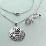 Zdjęcie - Komplet biżuterii ze stali chirurgicznej z kolczykami kula ziemska