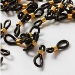 Zdjęcie - Czarne uchwyty do okularów ze złotą sprężynką