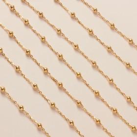 Zdjęcie - Srebrny, pozłacany łańcuch simple płaski z kuleczkami ag925