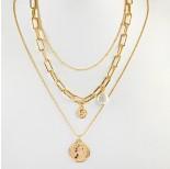 Zdjęcie - Naszyjnik z monetami i perłami złoty
