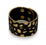 Zdjęcie - Czarno złota bransoletka tygrysek włochaty z  łańcuszkami