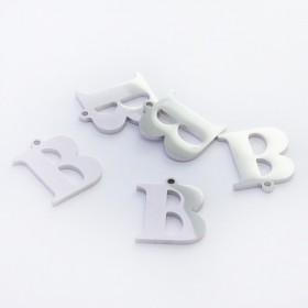 Zdjęcie - Zawieszka ze stali szlachetnej literka B srebrna