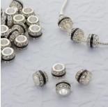 Zdjęcie - Koralik w srebrnym kolorze z kryształkami i czarnym paskiem