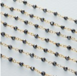 Zdjęcie - Łańcuch srebrny ag925 pozłacany z hematytem fasetowanym