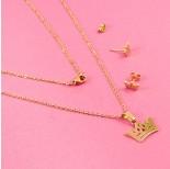 Zdjęcie - Komplet biżuterii ze stali chirurgicznej korona złoty
