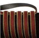 Zdjęcie - Rzemień zamszowy bordowy z łańcuszkiem