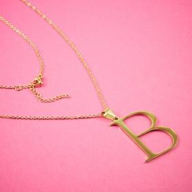 Zdjęcie - Naszyjnik ze stali chirurgicznej z literką B złoty