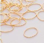 Zdjęcie - Srebrny łącznik  owal diamentowy ag925 złocony