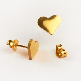 Zdjęcie - Kolczyki sztyfty ze stali chirurgicznej serduszko złoty