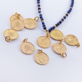 Zdjęcie - Srebrna moneta zawieszka Elżbieta II pozłacana