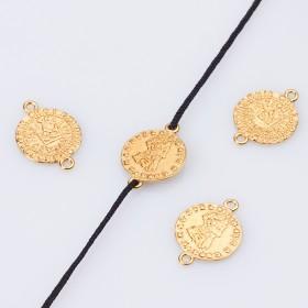 Zdjęcie - Srebrna moneta z koroną łącznik AG925 pozłacana