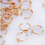 Zdjęcie - Baza pierścionek ze stali chirurgicznej talerzyk złoty