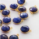 Zdjęcie - Lapis lazuli zawieszka krążek fasetowany w okuciu AG925