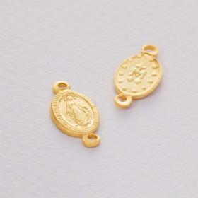 Zdjęcie - Srebrny łącznik Matka Boska dwa oczka złocona ag925