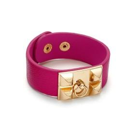 Zdjęcie - Różowa bransoletka ćwieki z zawleczką