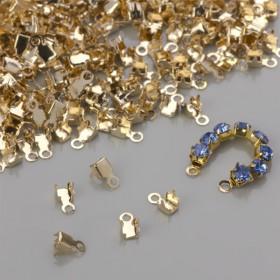 Zdjęcie - Końcówki do taśm z kryształkami real gold color