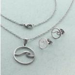 Zdjęcie - Komplet biżuterii ze stali chirurgicznej z kolczykami falla w kółku