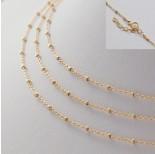 Zdjęcie - Gotowy łańcuszek ozdobny z oponkami diamentowanymi pozłacany AG925