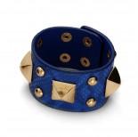 Zdjęcie - Niebieska bransoletka duże piramidki z kuleczkami na skórce wężowej