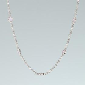 Zdjęcie - Srebrny rodowany naszyjnik z oczkami rose opal, próba Ag925