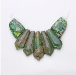 Zdjęcie - Jaspis cesarski zielony zestaw do naszyjnika 7 cz.