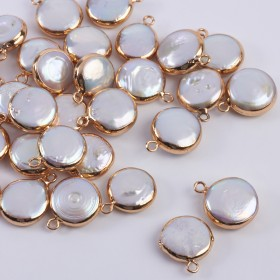 Zdjęcie - Zawieszka z perły naturalnej białej w złotym okuciu