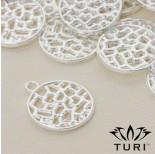 Zdjęcie - Zawieszka z ażurowym wzorkiem w srebrnym kolorze