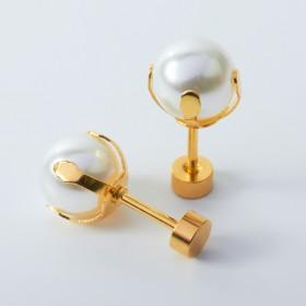 Zdjęcie - Kolczyki sztyfty z perłami ze stali chirurgicznej złote