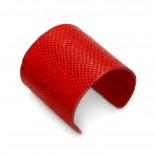 Zdjęcie - Czerwona bransoletka cuff ze skórki 72mm