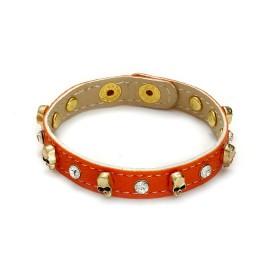 Zdjęcie - Pomarańczowa bransoletka czachy na pasku z kryształkami