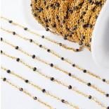 Zdjęcie - Łańcuch ze stali chirurgicznej z czarnymi oczkami złoty