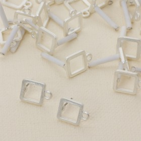 Zdjęcie - Kolczyki kwadraty wycięte z oczkiem