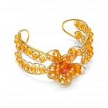Zdjęcie - Pomarańczowa bransoletka kryształki oplatane kwiatek